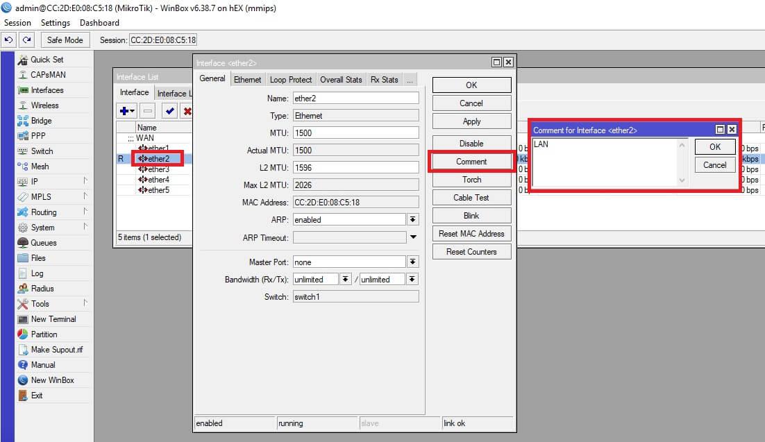 Selección interfaz LAN y comentarios