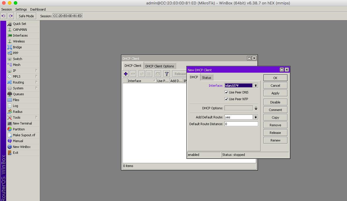 Agregar DHCP en Mikrotik