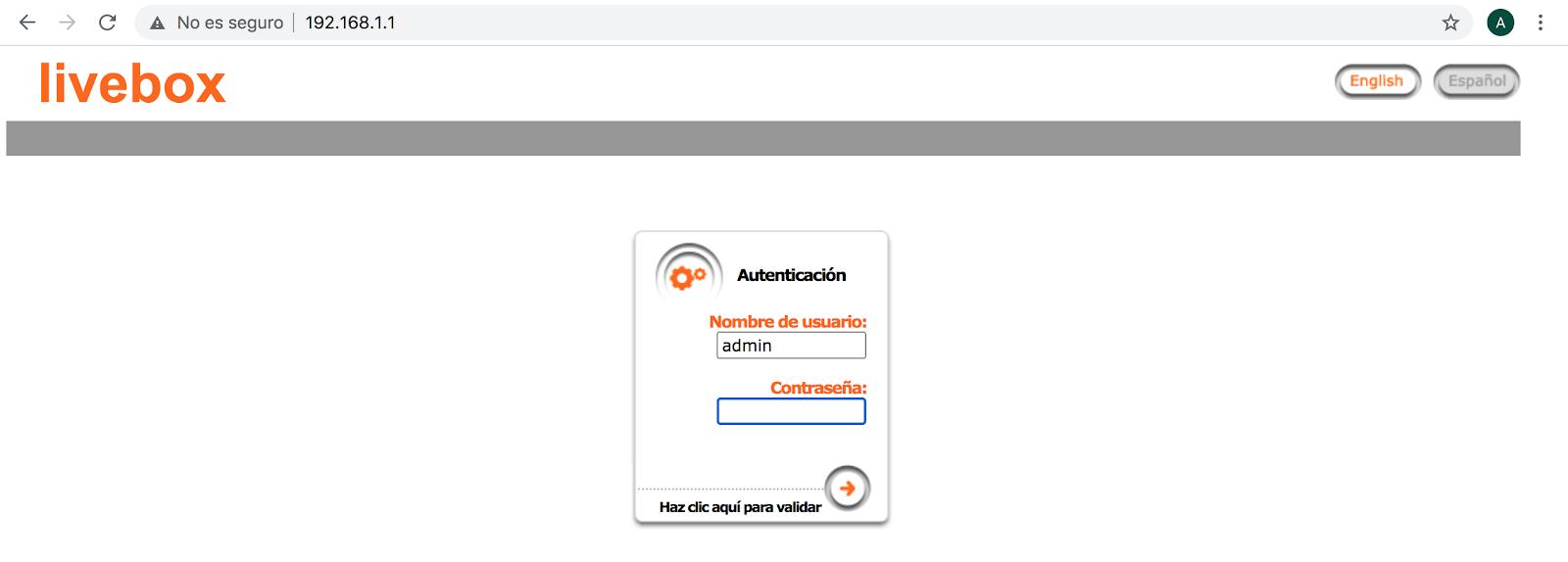 Acceso router Jazztel via web