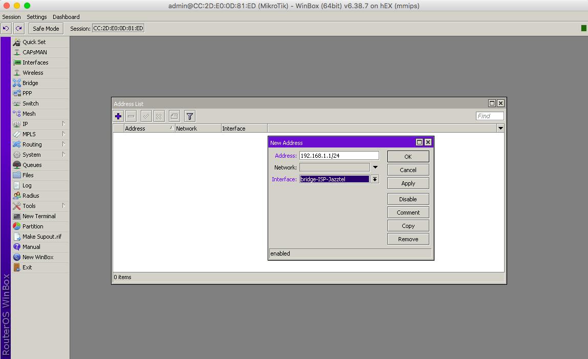 Direccion IP en Mikrotik